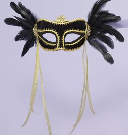 Black Feathered Venetian Mask