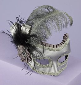Silver Satin Feather Mask