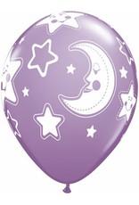 "11"" Printed Baby Shower Stars & Moon Balloon 1 Dozen Flat"