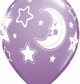 "11"" Printed Baby Shower Stars & Moon Balloon 1 Dozen Flat"
