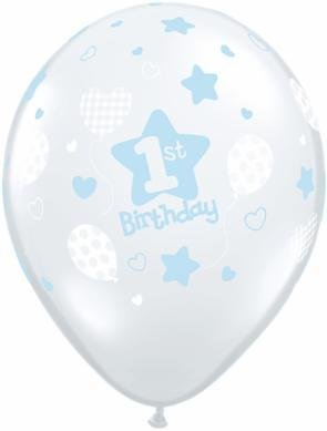 "11"" Printed 1st Birthday Boy Soft Balloon 1 Dozen Flat"
