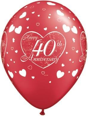 "11"" Printed 40th Anniversary Balloon 1 Dozen Flat"