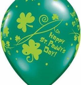 """11"""" Printed St. Paddy's Shamrock Swirls Balloon 1 Dozen Flat"""