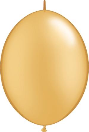 "12"" Gold Linking Balloons 1 Dozen Flat"