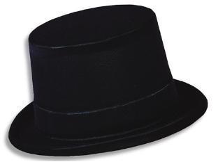 Black Flocked Velour Top Hat