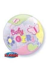 "Baby Girl Butterfly 22"" Bubble Balloon"