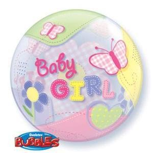 "Baby Girl Butterfly 22"" Bubble Balloon"