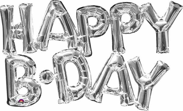 Air Filled Happy Bday Silver Mylar Balloon