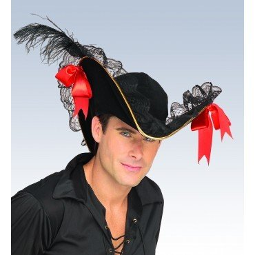 Buccaneer Hat Black with Red Bow