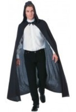 Black Full Length Cape With Hood