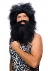 Caveman Beard and Black Wig