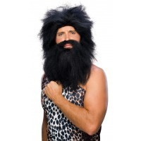 Pre-Historic Beard and Black Wig