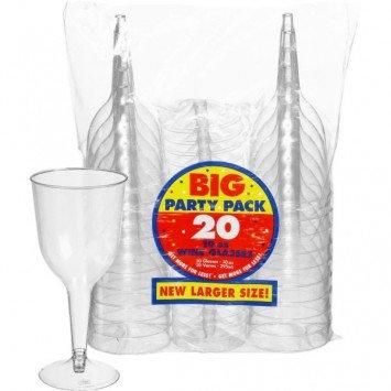10oz Plastic Wine Glass Clear 20ct