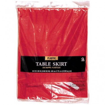 Apple Red Solid Colour Plastic Table Skirt