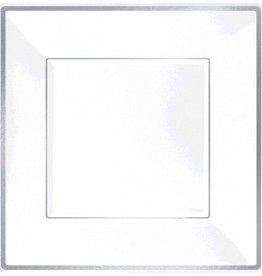 Square Plastic Plate White w/Silver Trim, 7 8pcs