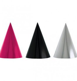 Black & Pink Foil Cone Party Hats