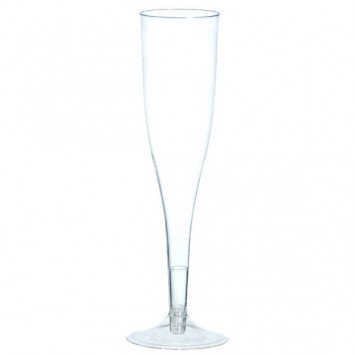 Clear Plastic Champagne Flutes Big Party Pack (20)