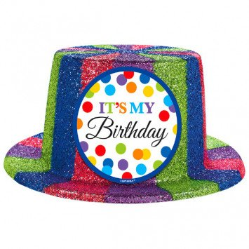Bright Bday Sparkle Top Hat