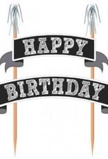 Cake Picks Happy Birthday Black