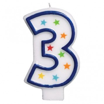 Amscan #3 Birthday Star Flat Molded Candle