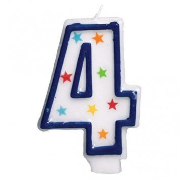 Amscan #4 Birthday Star Flat Molded Candle
