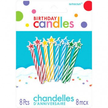 Candle Birthday Multi w/ Stars (8)