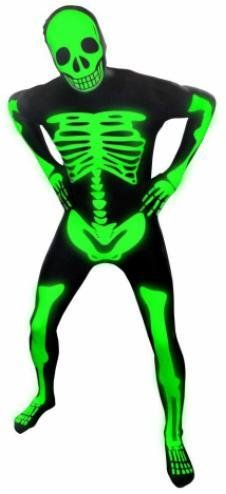 Adult Costume Morphsuit Premium Skeleton Glow Large