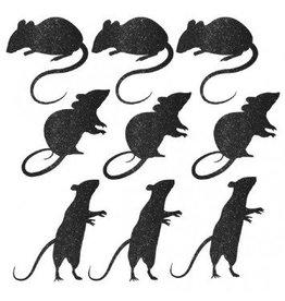 Blood Manor Glitter Paper Mice Silhouette Cutouts