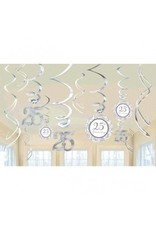 25th Anniversary Value Pack Hanging Decorations Silver