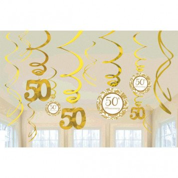 50th Anniversary Value Pack Hanging Decorations Gold