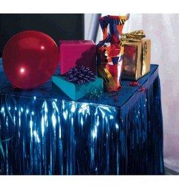 Blue Metallic Fringed Table Skirt