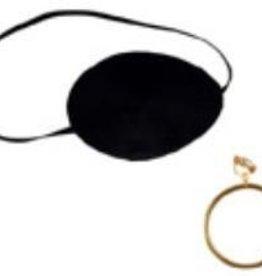 Pirate Eye Patch w/Gold Earrings 1pk