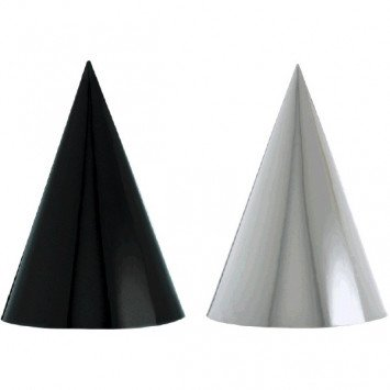Black & White Foil Cone Party Hats