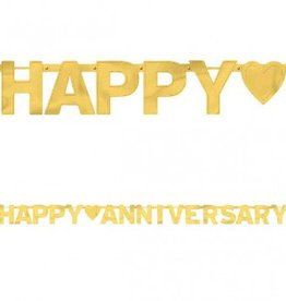 Happy Anniversary Gold - Large Foil Letter Banner