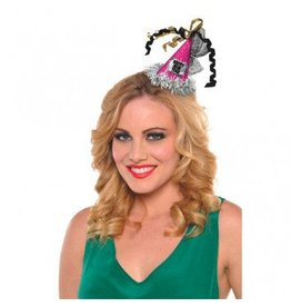 Happy New Year Cone Hat Hair Clip Jewel Tone