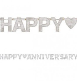 Happy Anniversary Banner Silver