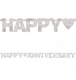 Happy Anniversary Banner Silver