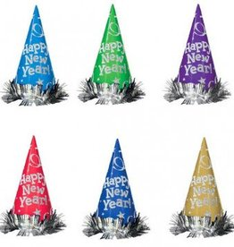 Metallic Glitter Paper Cone Hats - Assorted Colour 12 Pack