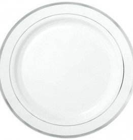"White Premium Plastic Round Plates with Silver Trim 10 1/4"" 10pcs"