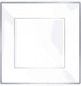 """Square Plastic Plate White w/Silver Trim 10"""" (8)"""