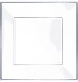"Square Plastic Plate White w/Silver Trim 10"" 8pcs"