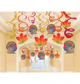 Swirl Decorations Leaves/Turkey 30pc
