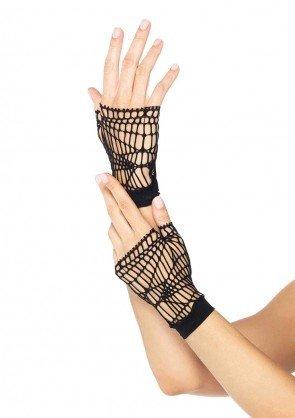 Distressed Net Fingerless Gloves Black