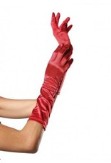 Red Elbow Length Satin Gloves