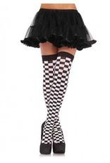 Black & White Checkered Thigh High Stockings