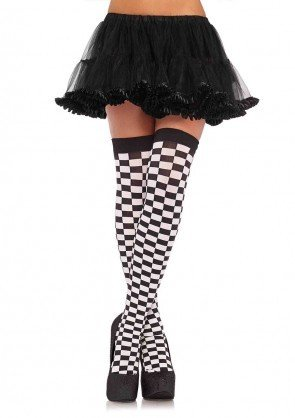 Checkered Thigh Highs Black/White