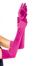 Extra Long Satin Gloves Hot Pink