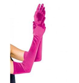 Extra Long Satin Gloves Hot Pink