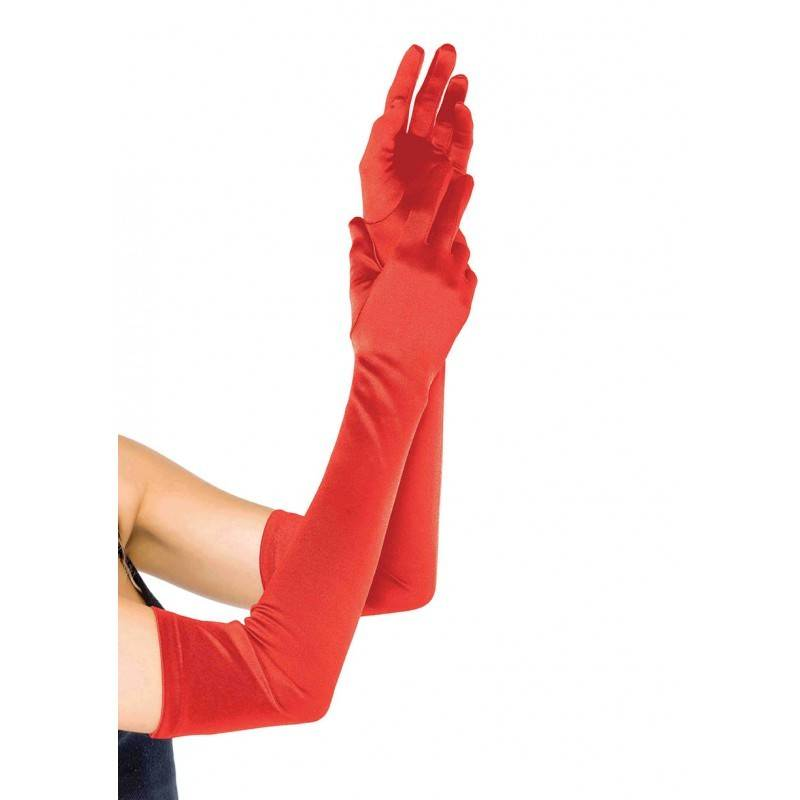 Extra Long Satin Gloves Red