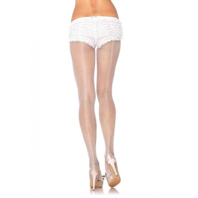 White Fishnet Pantyhose With Backseam